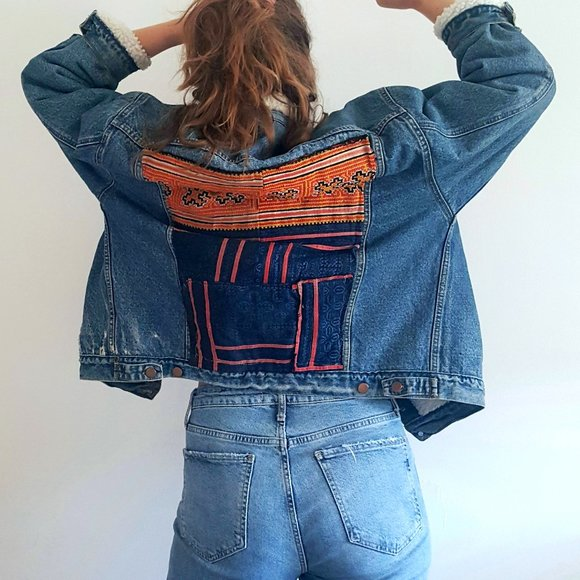 1990's Sherpa Lined Denim Jacket with Textile Back